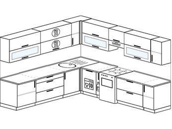 Планировка угловой кухни 10,1 м², 260 на 290 см (зеркальный проект): верхние модули 72 см, посудомоечная машина, корзина-бутылочница, отдельно стоящая плита