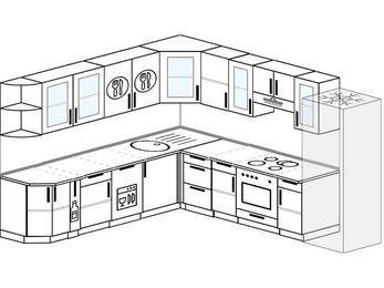 Планировка угловой кухни 10,1 м², 2600 на 2900 мм (зеркальный проект): верхние модули 720 мм, корзина-бутылочница, посудомоечная машина, встроенный духовой шкаф, холодильник