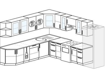 Планировка угловой кухни 10,1 м², 260 на 290 см (зеркальный проект): верхние модули 72 см, корзина-бутылочница, отдельно стоящая плита, холодильник