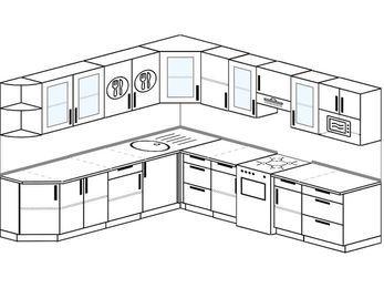 Планировка угловой кухни 10,1 м², 260 на 290 см (зеркальный проект): верхние модули 72 см, отдельно стоящая плита, модуль под свч