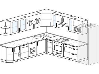 Планировка угловой кухни 10,1 м², 260 на 290 см (зеркальный проект): верхние модули 72 см, корзина-бутылочница, посудомоечная машина, встроенный духовой шкаф, холодильник, модуль под свч