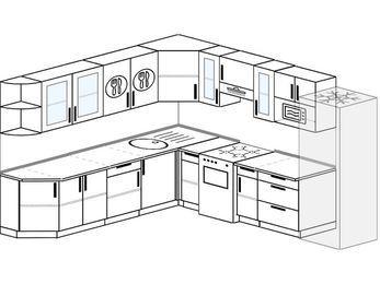 Планировка угловой кухни 10,1 м², 260 на 290 см (зеркальный проект): верхние модули 72 см, отдельно стоящая плита, холодильник, модуль под свч