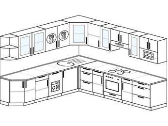 Планировка угловой кухни 10,1 м², 260 на 290 см (зеркальный проект): верхние модули 72 см, посудомоечная машина, встроенный духовой шкаф, модуль под свч