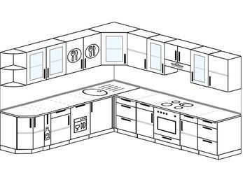 Планировка угловой кухни 10,1 м², 260 на 290 см (зеркальный проект): верхние модули 72 см, корзина-бутылочница, посудомоечная машина, встроенный духовой шкаф
