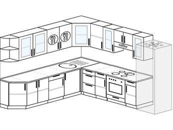Планировка угловой кухни 10,1 м², 260 на 290 см (зеркальный проект): верхние модули 72 см, встроенный духовой шкаф, холодильник