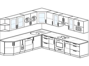 Планировка угловой кухни 10,1 м², 260 на 290 см (зеркальный проект): верхние модули 72 см, корзина-бутылочница, встроенный духовой шкаф, модуль под свч
