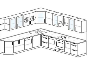 Планировка угловой кухни 10,1 м², 260 на 290 см (зеркальный проект): верхние модули 72 см, встроенный духовой шкаф