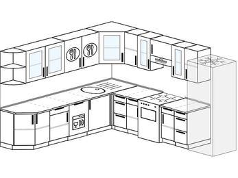 Планировка угловой кухни 10,1 м², 260 на 290 см (зеркальный проект): верхние модули 72 см, посудомоечная машина, отдельно стоящая плита, холодильник
