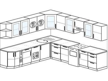 Планировка угловой кухни 10,1 м², 2600 на 2900 мм (зеркальный проект): верхние модули 720 мм, корзина-бутылочница, посудомоечная машина, отдельно стоящая плита