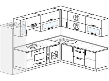 Планировка угловой кухни 8,1 м², 2700 на 2100 мм: верхние модули 720 мм, холодильник, встроенный духовой шкаф, корзина-бутылочница, посудомоечная машина