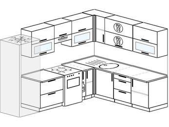 Планировка угловой кухни 8,1 м², 2700 на 2100 мм: верхние модули 720 мм, холодильник, отдельно стоящая плита, корзина-бутылочница