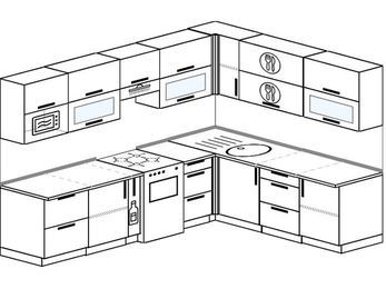 Планировка угловой кухни 8,1 м², 2700 на 2100 мм: верхние модули 720 мм, корзина-бутылочница, отдельно стоящая плита, модуль под свч