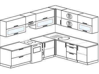 Планировка угловой кухни 8,1 м², 270 на 210 см: верхние модули 72 см, отдельно стоящая плита, корзина-бутылочница