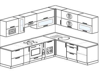 Планировка угловой кухни 8,1 м², 270 на 210 см: верхние модули 72 см, встроенный духовой шкаф, корзина-бутылочница, посудомоечная машина, модуль под свч
