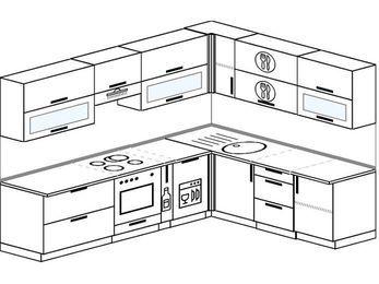 Планировка угловой кухни 8,1 м², 270 на 210 см: верхние модули 72 см, встроенный духовой шкаф, корзина-бутылочница, посудомоечная машина