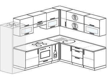 Планировка угловой кухни 8,1 м², 2700 на 2100 мм: верхние модули 720 мм, холодильник, встроенный духовой шкаф, корзина-бутылочница
