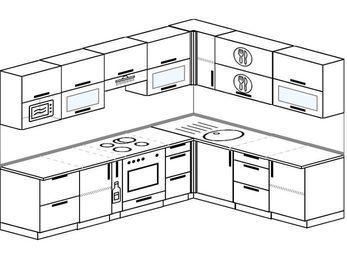 Планировка угловой кухни 8,1 м², 270 на 210 см: верхние модули 72 см, корзина-бутылочница, встроенный духовой шкаф, модуль под свч