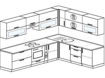 Планировка угловой кухни 8,1 м², 2700 на 2100 мм: верхние модули 720 мм, встроенный духовой шкаф, корзина-бутылочница