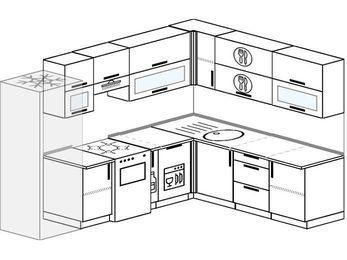Планировка угловой кухни 8,1 м², 270 на 210 см: верхние модули 72 см, холодильник, отдельно стоящая плита, корзина-бутылочница, посудомоечная машина