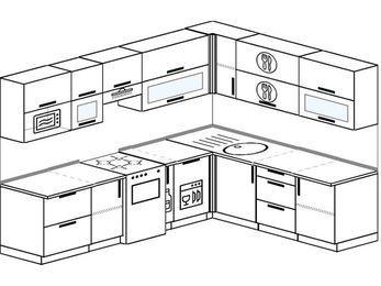Планировка угловой кухни 8,1 м², 270 на 210 см: верхние модули 72 см, отдельно стоящая плита, корзина-бутылочница, посудомоечная машина, модуль под свч