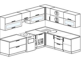 Планировка угловой кухни 8,1 м², 270 на 210 см: верхние модули 72 см, отдельно стоящая плита, корзина-бутылочница, посудомоечная машина