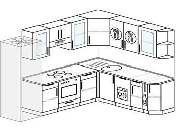 Планировка угловой кухни 8,1 м², 2700 на 2100 мм: верхние модули 720 мм, холодильник, встроенный духовой шкаф, посудомоечная машина, корзина-бутылочница