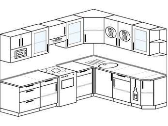 Планировка угловой кухни 8,1 м², 2700 на 2100 мм: верхние модули 720 мм, отдельно стоящая плита, корзина-бутылочница, модуль под свч