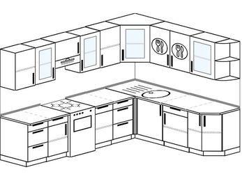 Планировка угловой кухни 8,1 м², 270 на 210 см: верхние модули 72 см, отдельно стоящая плита