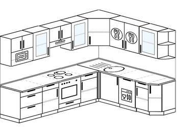 Планировка угловой кухни 8,1 м², 270 на 210 см: верхние модули 72 см, встроенный духовой шкаф, посудомоечная машина, модуль под свч