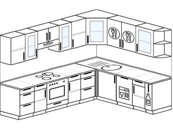 Планировка угловой кухни 8,1 м², 2700 на 2100 мм: верхние модули 720 мм, встроенный духовой шкаф, посудомоечная машина, корзина-бутылочница