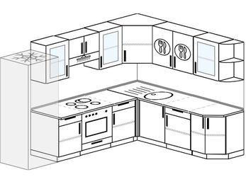 Планировка угловой кухни 8,1 м², 270 на 210 см: верхние модули 72 см, холодильник, встроенный духовой шкаф