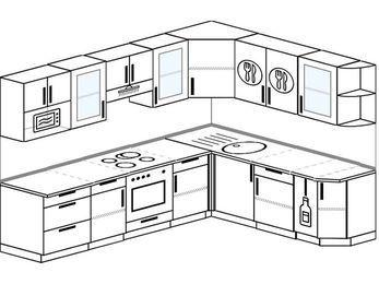 Планировка угловой кухни 8,1 м², 2700 на 2100 мм: верхние модули 720 мм, встроенный духовой шкаф, корзина-бутылочница, модуль под свч