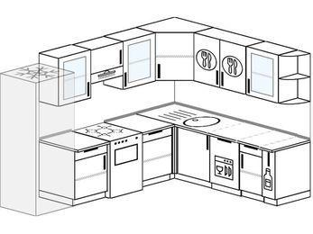 Планировка угловой кухни 8,1 м², 270 на 210 см: верхние модули 72 см, холодильник, отдельно стоящая плита, посудомоечная машина, корзина-бутылочница