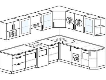 Планировка угловой кухни 8,1 м², 270 на 210 см: верхние модули 72 см, отдельно стоящая плита, посудомоечная машина, модуль под свч