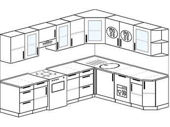 Планировка угловой кухни 8,1 м², 270 на 210 см: верхние модули 72 см, отдельно стоящая плита, посудомоечная машина
