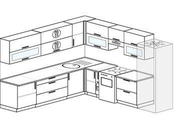 Планировка угловой кухни 10,0 м², 270 на 280 см (зеркальный проект): верхние модули 72 см, корзина-бутылочница, отдельно стоящая плита, холодильник