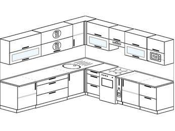 Планировка угловой кухни 10,0 м², 270 на 280 см (зеркальный проект): верхние модули 72 см, отдельно стоящая плита, корзина-бутылочница, модуль под свч
