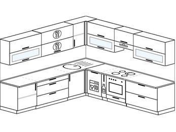 Планировка угловой кухни 10,0 м², 270 на 280 см (зеркальный проект): верхние модули 72 см, посудомоечная машина, корзина-бутылочница, встроенный духовой шкаф
