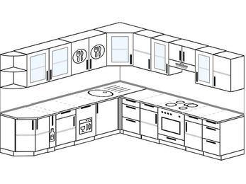 Планировка угловой кухни 10,0 м², 270 на 280 см (зеркальный проект): верхние модули 72 см, корзина-бутылочница, посудомоечная машина, встроенный духовой шкаф