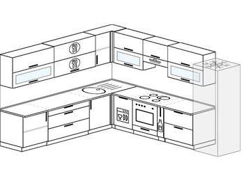 Планировка угловой кухни 11,1 м², 270 на 310 см (зеркальный проект): верхние модули 72 см, посудомоечная машина, встроенный духовой шкаф, корзина-бутылочница, холодильник