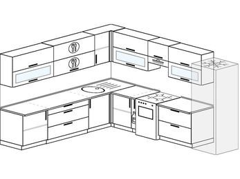 Планировка угловой кухни 11,1 м², 270 на 310 см (зеркальный проект): верхние модули 72 см, корзина-бутылочница, отдельно стоящая плита, холодильник