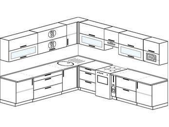 Планировка угловой кухни 11,1 м², 270 на 310 см (зеркальный проект): верхние модули 72 см, отдельно стоящая плита, корзина-бутылочница, модуль под свч