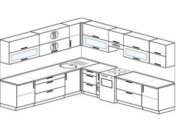 Планировка угловой кухни 11,1 м², 270 на 310 см (зеркальный проект): верхние модули 72 см, корзина-бутылочница, отдельно стоящая плита