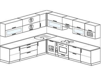 Планировка угловой кухни 11,1 м², 270 на 310 см (зеркальный проект): верхние модули 72 см, посудомоечная машина, корзина-бутылочница, встроенный духовой шкаф, модуль под свч