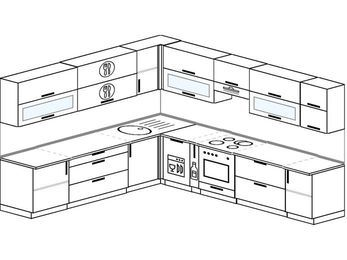 Планировка угловой кухни 11,1 м², 270 на 310 см (зеркальный проект): верхние модули 72 см, посудомоечная машина, корзина-бутылочница, встроенный духовой шкаф