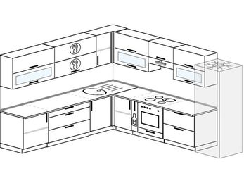 Планировка угловой кухни 11,1 м², 270 на 310 см (зеркальный проект): верхние модули 72 см, корзина-бутылочница, встроенный духовой шкаф, холодильник