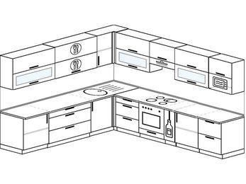 Планировка угловой кухни 11,1 м², 270 на 310 см (зеркальный проект): верхние модули 72 см, встроенный духовой шкаф, корзина-бутылочница, модуль под свч