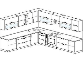 Планировка угловой кухни 11,1 м², 270 на 310 см (зеркальный проект): верхние модули 72 см, корзина-бутылочница, встроенный духовой шкаф