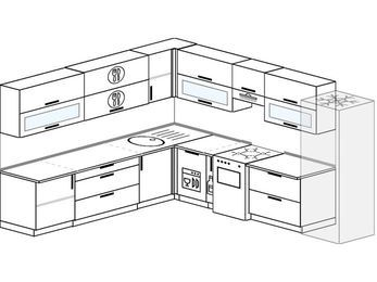 Планировка угловой кухни 11,1 м², 270 на 310 см (зеркальный проект): верхние модули 72 см, посудомоечная машина, корзина-бутылочница, отдельно стоящая плита, холодильник