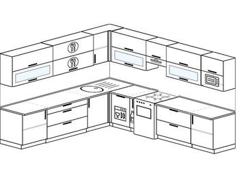 Планировка угловой кухни 11,1 м², 270 на 310 см (зеркальный проект): верхние модули 72 см, посудомоечная машина, корзина-бутылочница, отдельно стоящая плита, модуль под свч